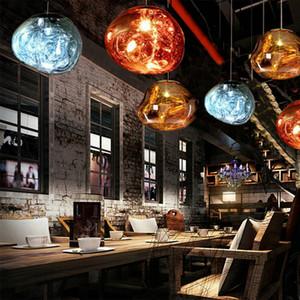 Ro Yemek Mutfak Island Bedroom için Vintage Modern LED Loft Nordic Dekor Altın Cam Kolye Işıklar Fikstür Hanglamp Endüstriyel Tasarım Lambası