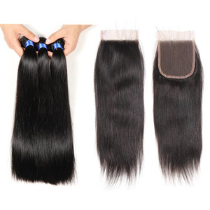 Top Lace Closure With 3 Bundles Brazilian Human Hair Weaves Indian Straight Virgin Hair Grade 8A Brazillian Virgin Hair with Closures