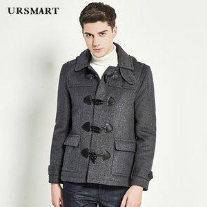 URSMART Automne hiver nouveau style chapeau homme manteau gris court croissant bouton manteau hommes
