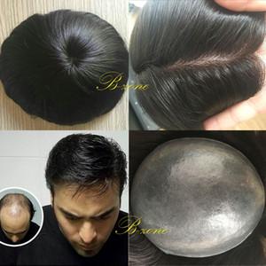 Süper ince cilt 0.08mm pu v döngü doğal başlık hairpieces pu ince cilt erkekler peruk peruk değiştirme sistemi