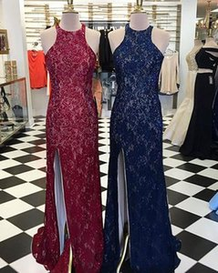 Hot Selling High Neck Split Side Lace Burgundy Navy Blue Prom Dresses Evening Dresses for Women In Stock
