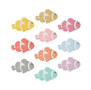 Balık Diş Kaşıyıcı Silikon Diş Çıkarma Oyuncaklar Bebek Balık Şekilli Çiğneme Boncuk Emzik Kolye Kolye için Yatıştırıcı Hemşirelik Çiğneme Aksesuarları