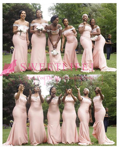 2019 New Pink Off The Shoulder Bridesmaid Dresses Mermaid Stain Lace Appliques Sweep Train Maid Of Honor Wedding Guest Gowns Custom Made