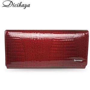 Carteras de las mujeres de cuero genuino DICIHAYA barbecho largo señoras doble cremallera cartera de embrague bolsa diseño rojo monedero cocodrilo monederos
