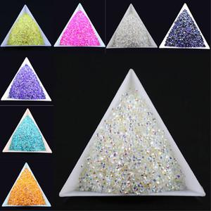 10000pcs / bolsa de 2 mm de uñas ES6 Muchos color de la jalea AB Resina cristal Rhinestones de FlatBack Súper brillo del arte del Strass boda decoración del grano no Hotfix