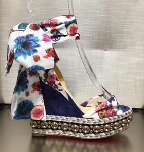 Летние цветочные узоры открытым носком Levantinana с шпилькой элегантный Красное дно Клин сандалии высокие каблуки Гладиатор сандалии платье партии EU35-42