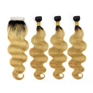 Miel Blonde Ombre Cheveux Avec Fermeture Dentelle Malaisienne Vierge Cheveux Humains Bundles 3 Pcs Avec Dentelle Fermeture Fraise Blonde Cheveux Humains Armures