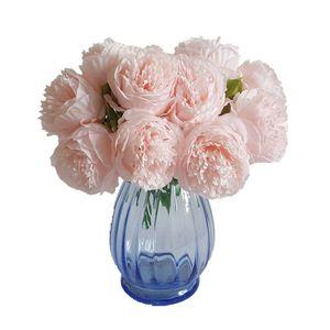 2PCS 5 Başlar / Demet Düğün Ev Dekorasyon nedime Bouquet İçin 2017 Yeni İpek Simülasyon Yapay Çiçek Şakayık Çiçek Buket