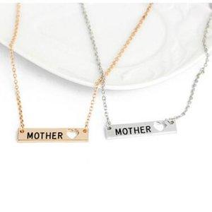 Seni Seviyorum Anne Kolye Mektup Anne Hollow Kalp Aşk Gümüş Altın Bar Kolye Kolye Mektup Kolye Kolye anneler Günü Hediye
