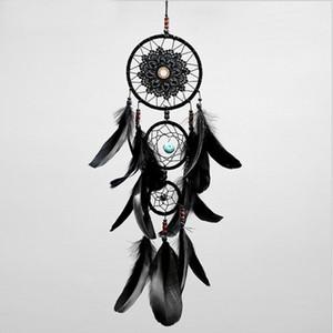 Dreamcatcher hecha a mano del colector del sueño neto con las plumas Negro Wind Chimes colgar de la pared del coche ornamento partido regalo pendiente la decoración del hogar