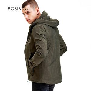 BOSIBIO Hommes À Capuche Vestes Printemps Automne Solide Mode Manteaux Mâle Casual Mince Noir Armée vestes vertes Haute Qualité 4XL 9202