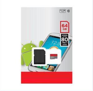 2020 Class 10 32GB 64gb 128gb 256GB 200G TF Tarjeta de memoria Adaptador SD gratuito Blister Retail Blister Packaging Android Robot C10 100mbps Blanco A1