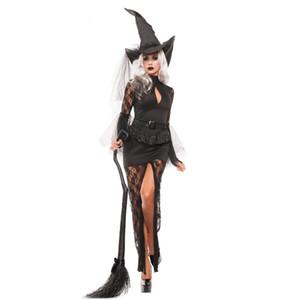 جديد أسود مثير هالوين المرأة السوداء النائمة الساحرة ملكة ازياء كرنفال حزب تأثيري يتوهم اللباس