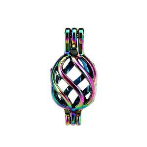10 pz / lotto Arcobaleno Colore Twist Perle Perle Cage Locket Pendant Diffusore Aromaterapia Profumo Oli Essenziali Diffusore Floating Pom