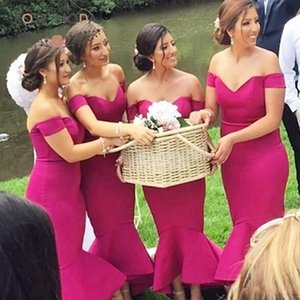 2018 New Elegant Fuchsia Off Ombro Vestidos de Dama de honra Modest Sereia Alta Low Em Camadas Convidados Do Casamento Vestidos Para Casamentos No Jardim Ocidental