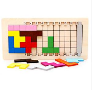 الملونة خشبية تنغرم تتريس لعبة الدماغ دعابة لغز لعب الطفل preschool magination المبكرة التعليمية للأطفال لعبة أطفال هدية