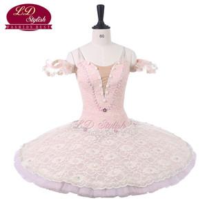 Mulheres rosa profissional stage ballet tutu trajes adulto clássica ballet dance apperal crianças ballet saia crianças dress