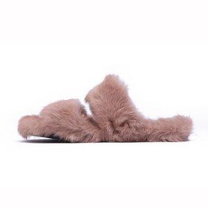 Krazing olla 2018 piel de conejo hebilla de cristal zapatos de marca de gran tamaño de las mujeres sandalias de punta abierta primavera exterior zapatillas L80