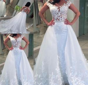 Beyaz Dantel Tül Overskirts Gelinlik Sheer Boyun Dantel Aplikler Boncuk İnciler Kılıf Gelinlikler Custom Made Gelin Elbise