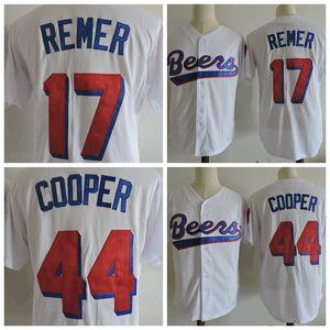رجل JOE COOP COOPER # 44 DOUG البلوزات baseketball ريمر # 17 البيسبول جيرسي رخيصة BEERS فيلم مخيط البيسبول قمصان M-XXXL