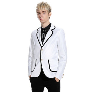 Последние Designs Prom Wear White Men Костюмы свадебного Black нагрудной Slim Fit Groom Tuxedos Groomsmen костюм Best Man Пиджаки куртка 2piece
