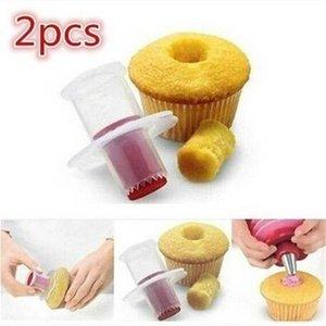Envío gratis 2 Unids DIY Cupcake Muffin Cake Pastelería Corer Plástico Modelo de Relleno Herramientas de la Torta Del Cortador Del Émbolo Para Hornear