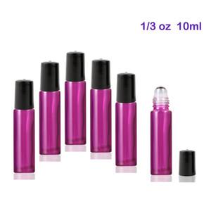 Высокое качество 300 шт. / лот 10 мл стекло Roll-On бутылки с шариками ролика из нержавеющей стали для эфирных масел Янтарный (фиолетовый )