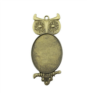 5 Pieces Cabochon Cameo Base Tray Bezel Blank Hand Made Jewelry Making Owl Single Side Inner Size 30x40mm Oval cameos and cabochons