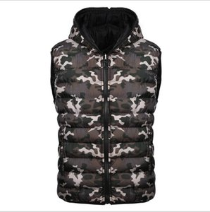 Kamuflaj Mens Marka Tasarımcısı Aşağı Yelek Rahat Kapşonlu Kış Ceket Erkek Açık Rüzgarlık Aşağı Ceket Ücretsiz Kargo