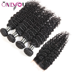 Brazilian Deep Wave Virgin Hair Closure Kinky Curly Human Hair Weave Bundles with Closure Straight 4 Bundles and Weaves Hair Wefts Wholesale