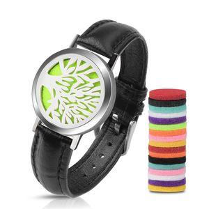 Ätherisches Öl Diffusor Armband, Edelstahl Aromatherapie Medaillon Armbänder Lederband, Männer Frauen Armband Geschenk-Set