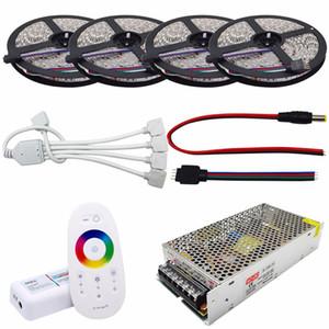 4 * 5 M RGB LED Şerit SMD5050 Esnek Işık DC12V 60Led / m Şerit Lamba + 2.4G RGB Led Denetleyici + 12 V 20A Güç Adaptörü tedarik