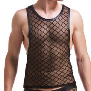 Nuovi uomini sexy Black Plaid Fishnet Canotte Gay bar Mesh Prestazioni camicia Fitness maglia Maglie magliette trasparenti taglia XXL spedizione shiping
