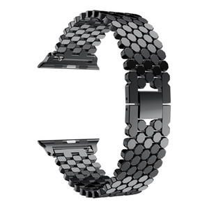 Apple Watch Straps Fish Scale 금속 스테인레스 스틸 밴드 iwatch Series 1 2 3 4 4 어댑터가 포함 된 커넥터 Apple watchband 40 / 44mm 용