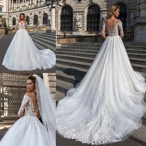 2019 Nuevos vestidos de novia de encaje de volantes en cascada Una línea de cuello escarpado con apliques Robe De Mariee 3/4 manga tren de la iglesia vestidos de novia