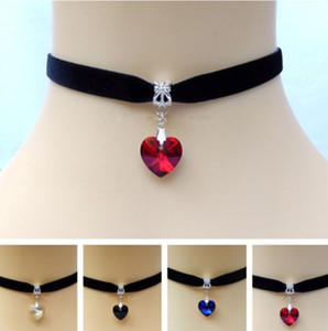 Heart Crystal Victorian Choker Necklace Vintage Goth Velvet Chokers Necklaces & Pendants For Women Jewelry