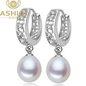 Orecchino di perla naturale d'acqua dolce ASHIQI per i monili delle donne Orecchini a cerchio per le perle Cubic Zirconia miglior regalo