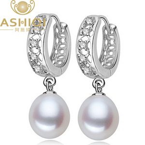 ASHIQI Natural Freshwater Pearl earring for women jewelry Pearl hoop earrings Cubic Zirconia best gift