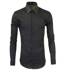 2016 Gerçek Pamuk Tam Düzenli Camisas Hombre Vestir Camisa Metal Perçinler Ve Yeni Uzun Kollu Gömlek Içinde Destek A Erkekler Için