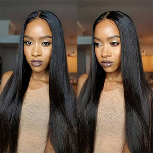 Straight Human Hair Lace Front Wigs 100% Unprocessed Brazilian Virgin Hair For Black Woman Swiss Lace Long Size Remy Human Hair Wigs Vendors