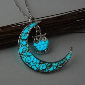 Sevimli Baykuş Parlayan Taş Kolye Kolye Crescent Moon Glow Karanlık Kolye Kadınlar Takı Için Hayvan Aydınlık Kolye Hediye