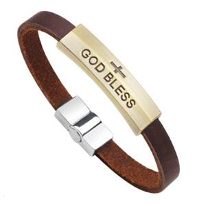 Christian Religiöse Leder Armbänder für Frauen Herren Freund Geschenk Vintage Bronze Jesus Gott Segnen Liebe Armband Armband Großhandel Schmuck