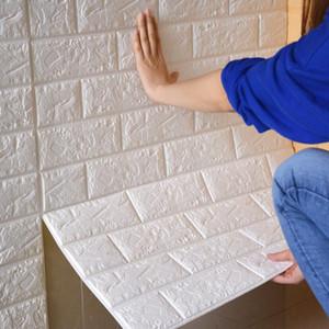 Autoadesiva impermeabile TV Sfondo mattoni Sfondi 3D Wall Sticker Soggiorno Wallpaper Murale Camera da letto adesivi decorativi