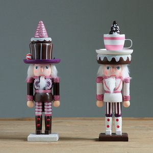 2pc / set 25 centímetros de madeira Nutcracker boneca Sweety Soldado Vintage Artesanato Puppet Ornamentos Ambiente de Trabalho Shop e presentes Decoração de Natal Home
