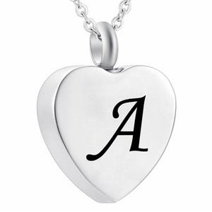 Cremação Ash Jóias coração colar de aço inoxidável 26 Letra Inicial Carimbos Charme Lembrança Memorial Memorial