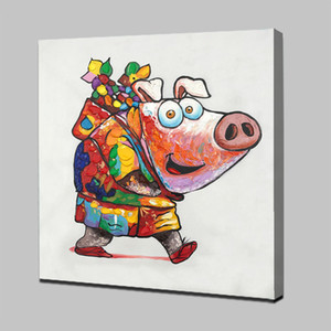 Happy Piggy Pure Handpainted HD Art Print Modern Abstract Animal Art Pintura al óleo sobre lienzo de alta calidad, decoración de la pared del hogar de varios tamaños