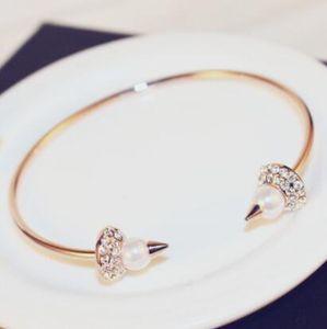 Изысканный корейский мода розовое золото заполненные манжеты браслет для женщин Европейский роскошный Циркон жемчужные подвески открыть браслеты панк ювелирные изделия анти аллергия