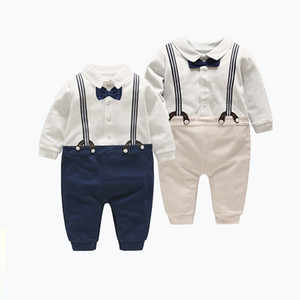 Vieeoease Baby Romper Gentleman Boys Clothing 2018 Spring Jumpsuits Rompers Long Sleeve newborn Bow Straps Romper MA-094
