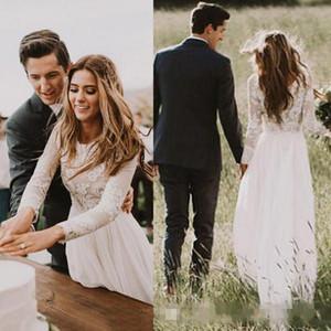 Elegant Sweep Train Long Sleeve Lace Wedding Dresses Chiffon Boho Bridal Gown Romantic A-line Beach Bridal Dress Embroidered Design