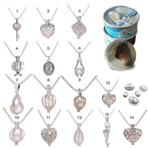 Hot Silver Pearl Cage Anhänger Medaillon-Halskette mit Shark Mermaid Sea Horse Rose Perlen Oyster-Anhänger Charm edlen Schmuck für Frauen Schmuck